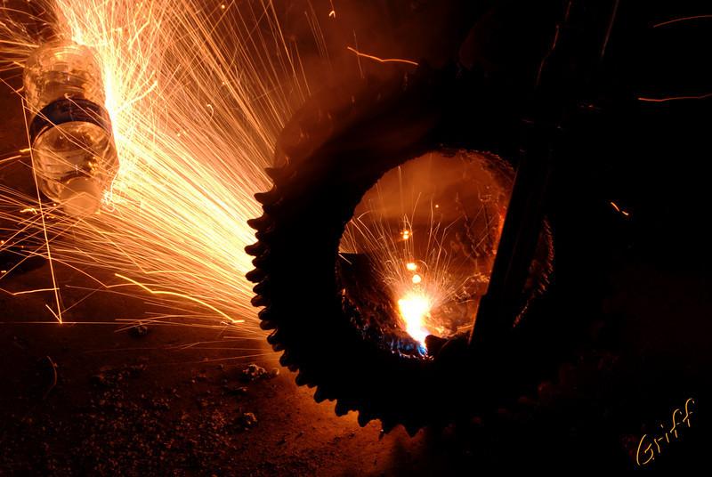 Daniel Graves cutting on a sprinkler sprocket on the shop floor.
