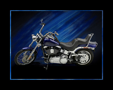 """2007 Harley Davidson Softail Custom with a few added accessories.  The photo was taken in my studio using 2 large overhead softboxes 60""""x72"""" butted end to end on booms. (4) 3'x4' foamboards used as reflectors on the floor in front of the bike to light up chrome/paint.  One flash head with a grid on rear tire area. One flash with grid to burn in paint color through clear cote. 2 silver reflectors on tires.  Shot with mamiya 645AFD II and leaf 22mp back.  Post processing in PS to change background color/hue."""
