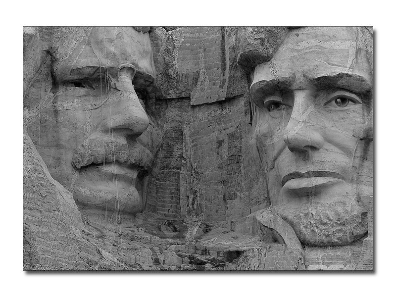 Some facts, the eyes measure 11 feet across, the mouth of each is 18 feet in width, and each President's nose measures 20 feet in length.  Photo of Theodore Roosevelt and Abraham Lincoln.