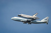 Endeavour flys over Moffett Field