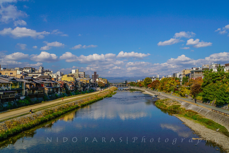 Kamo River view from Shijoo Bridge - Kyoto