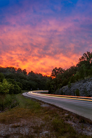 Sunset and Light Trails - Kentucky Highway 9