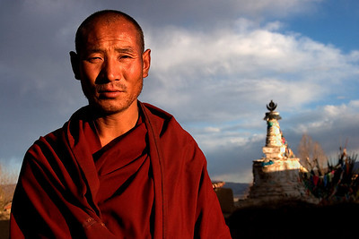 Monk in front of old chorten-Dipu Monastery