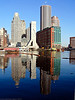 Fort Point Channel Skyline – Reflections in Blue<br /> Boston<br /> Panasonic FZ10<br /> February 2004