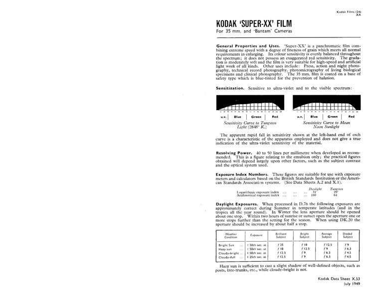 "Kodak Data Sheet for ""Super XX"" Film"