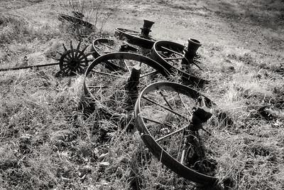 Iron wheels from old farm implements. Near Monett, Mo. Kodak T-Max 100; dr5 reversal processing