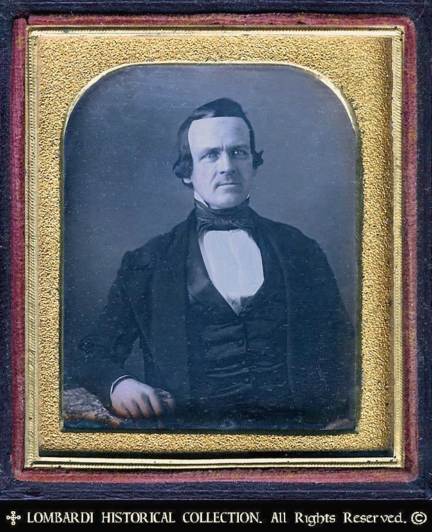 1/6 Plate DAGUERREOTYPE<br /> . W/full case.<br /> <br /> Early image of a Detroiter. Ca. 1847.<br /> By John E. Martin, Dageurreotypist<br /> (1845-1852), Detroit, Michigan.