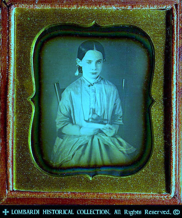 1/6 Plate DAGUERREOTYPE. W/full case.<br /> <br /> American child with carved wooden toy bird. Ca. 1848.