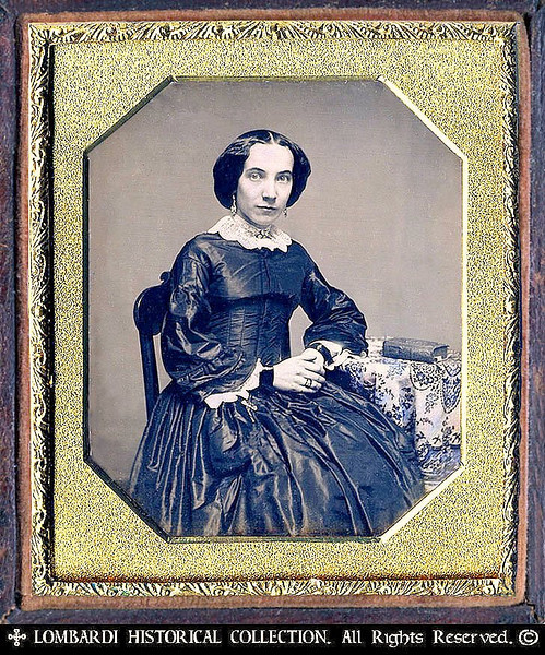 1/6 Plate DAGUERREOTYPE. W/Full case.<br /> <br /> Italian woman. Milan, Italy ca. 1841