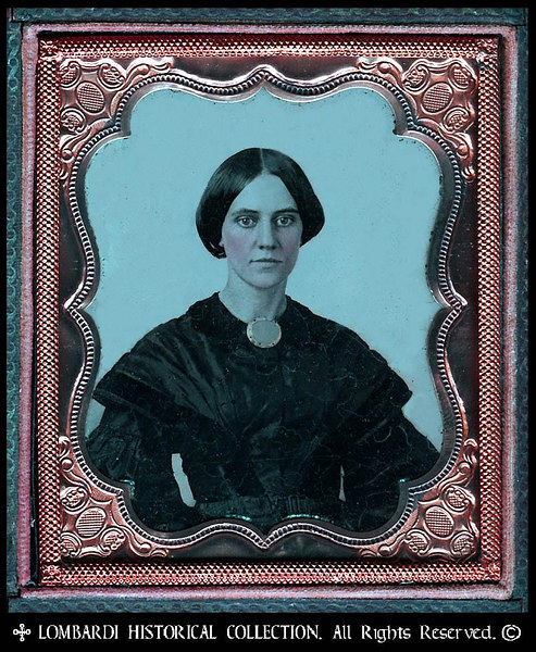 1/6 Plate AMBROTYPE. W/full case.<br /> <br /> Woman in mourning. Ca. 1855.