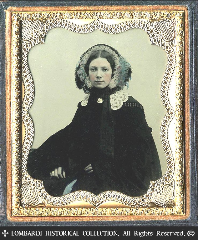 1/6 Plate AMBROTYPE. W/half case.<br /> <br /> Woman, ca. 1855.