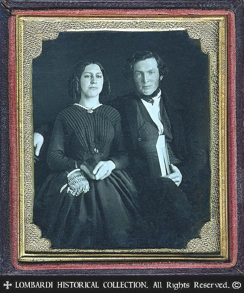 1/6 Plate DAGUERREOTYPE. W/full case.<br /> <br /> William L. Webber (Lawyer) & Martha S. Webber. Taken at Milford, Michigan, in 1849.