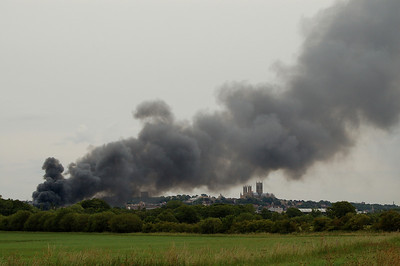 The fire from the Swanpool area, with the smoke plume spreading over the city centre