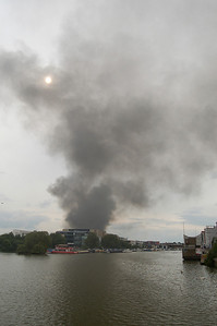 From this view across Brayford Pool it looked like the fire was actually at the University