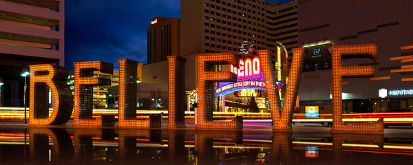 BELIEVE SIGN DOWNTOWN RENO NEVADA NIGHT