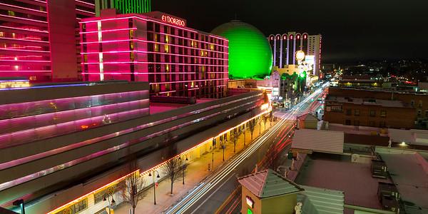 Downtown Reno Nevada at Night El Dorado and Silver Legacy Casinos