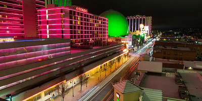 Downtown Reno Nevada at Night El Dorado and Silver Legacy Casinos
