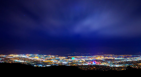 Reno Night Sky Clouds Long Exposure Blue