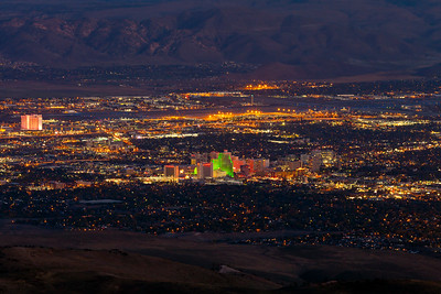 Reno NV from Peavine Evening Lights Night