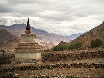 Stupa and mountains near Hemis