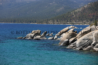 Rocky shoreline at Lake Tahoe, California.
