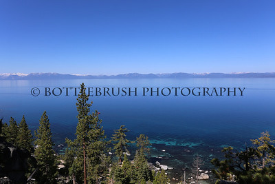 View of the California side of Lake Tahoe from the Nevada side of the lake.