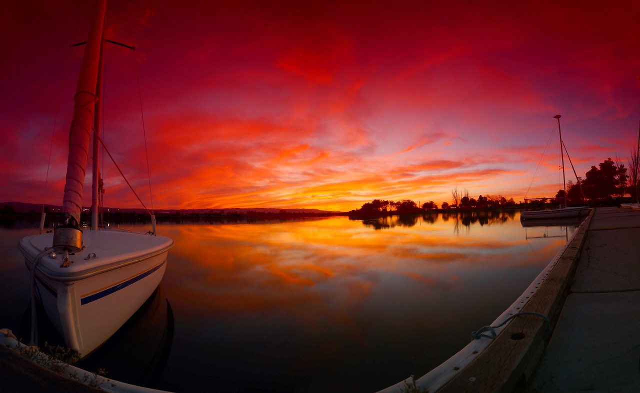 A brilliant sunset over the lake.