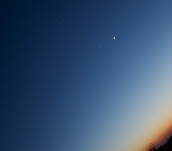 Venus, Jupiter and Moon after the sunset