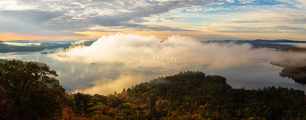 Fog Autumn Light on Squam Lake pano