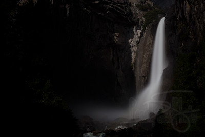 Lower Yosemite Falls by Moonlight. Yosemite National Park, CA
