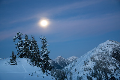 moonlit evening en route to artist point. mount baker, wa