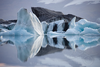 Icebergs trapped in Jokulsarlon lagoon. S.E. Iceland