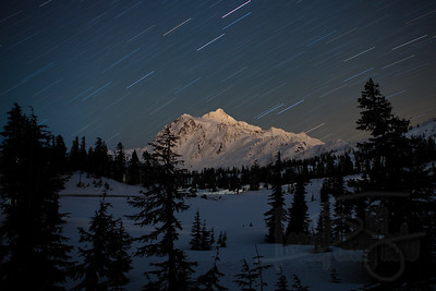 Mount Shuksan and Startrails from Picture Lake. North Cascades, WA