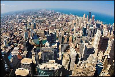 View of Chicago from atop the Sears Tower observation deck.