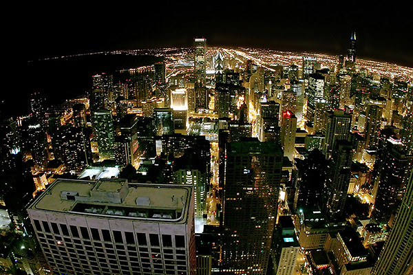 Nighttime view of Chicago from atop the John Hancock observation deck.