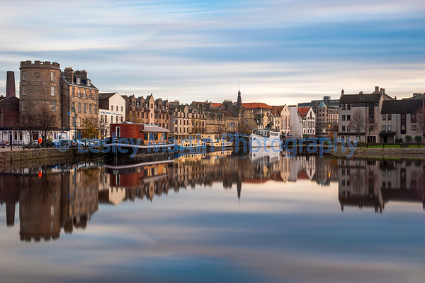 Picture by Lesley Martin<br /> Reflection on Leith, Edinburgh.<br /> Taken 29th October 2014.
