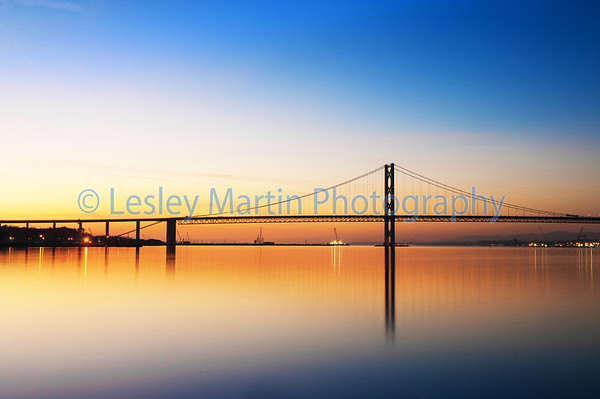 Picture by Lesley Martin The Forth Road Bridge at sunset taken from North Queensferry. © Lesley Martin 2013