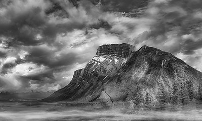 Mt. Rundle with Morning Clouds