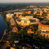 University of Tennessee campus aerial view with river and stadium