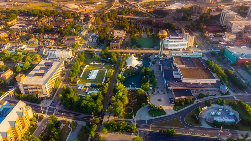 Aerial view of the World Fair Park in Knoxville Tennessee in the morning with Sun Sphere