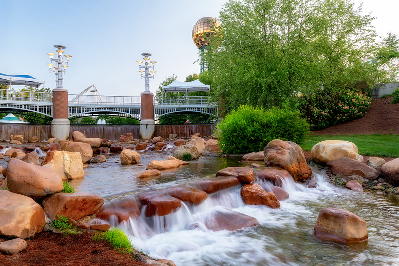 Sunsphere and creek in Worlds Fair Park Knoxville Tennessee morning