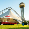 Pavilion in downtown Knoxville Tennessee preparing for an even with sun sphere