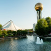 Worlds Fair Park in downtown Knoxville Tennesse with fountain and paviliion