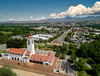 Boise Train depot with capital boulevard and city skyline in the spring time