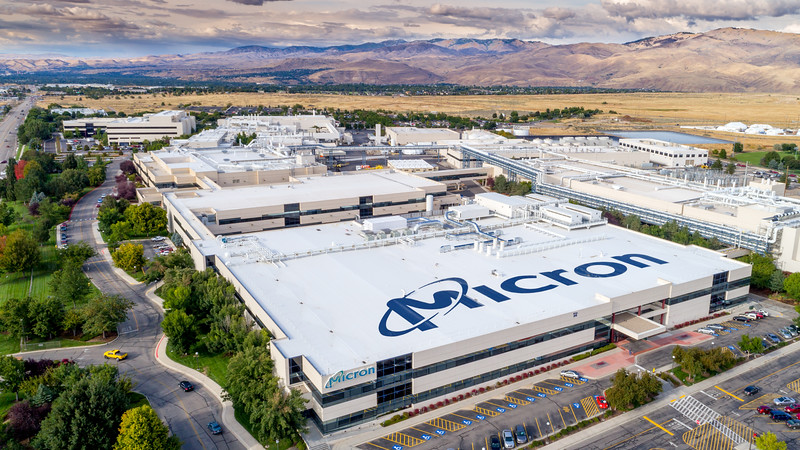 Unique view of Micron with name on top of building