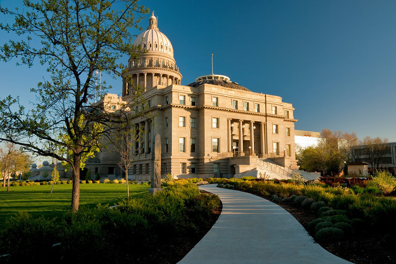 Sidewalk that leads up to the Idaho State Capital