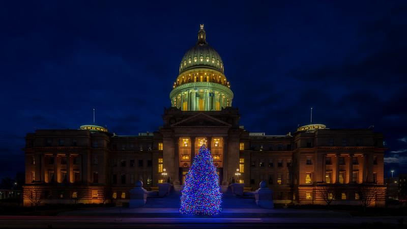 Christmas tree at the Idaho State Capital building at night