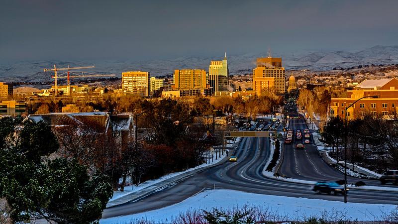 Winter Street and City Skyline Boise, Idaho