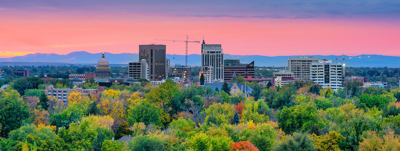 Sunrise over Boise City in the Fall