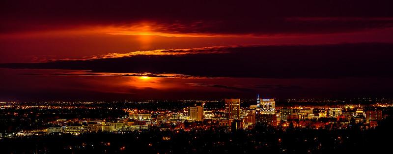 Dramatic Full Moon over Boise